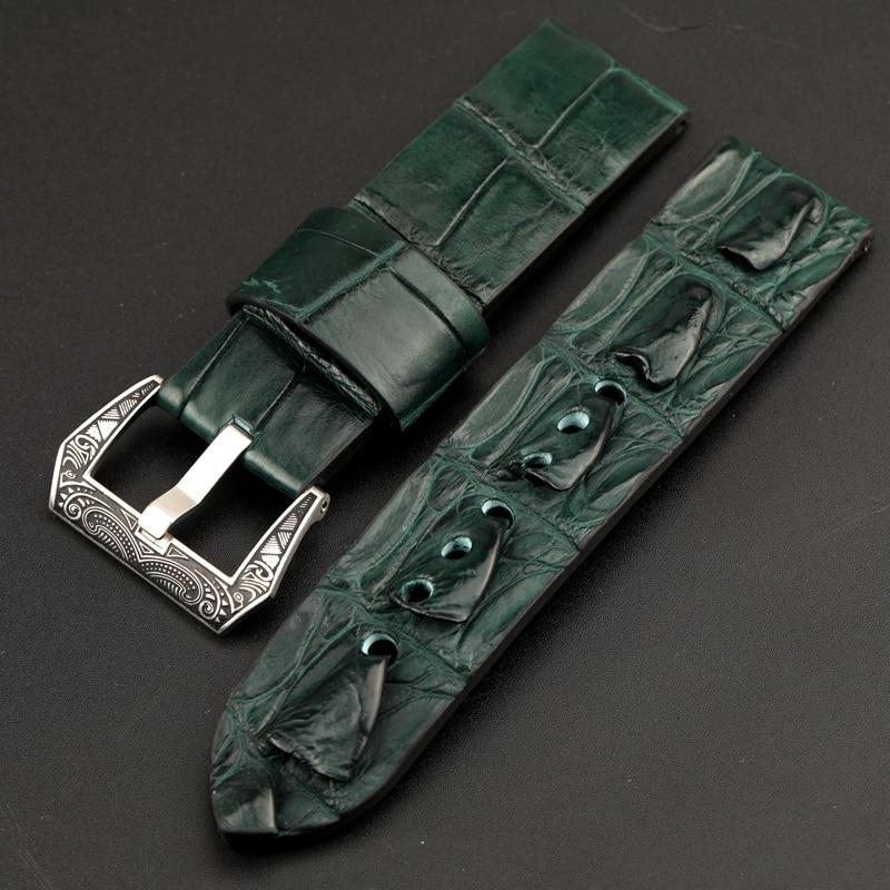 Hand-adaptive PAM111 Bone Pattern Crocodile Leather Watchband 24MM 22MM 20MM Green / Blue Leather Strap, Retro Style