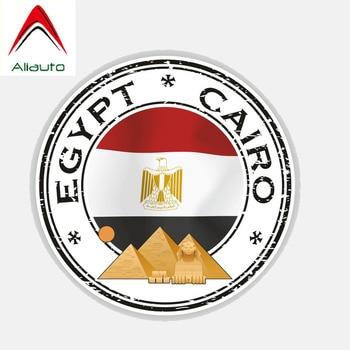 Aliauto Creative Funny Car Sticker Automobile Styling Egypt Cairo Flag Body Window Waterproof Sunscreen Anti-UV Decal,12cm*12cm недорого
