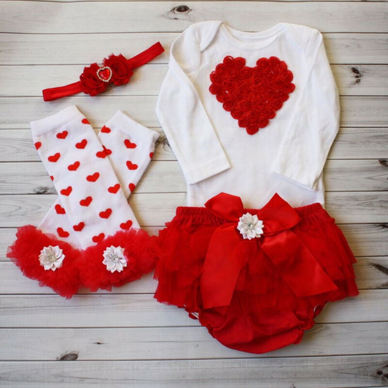 3PCS My First Valentines Day Newborn Baby Girl Outfits Clothes Romper Bodysuit Top Tutu Skirts Dress Bowknot Leg Warm Vestidos