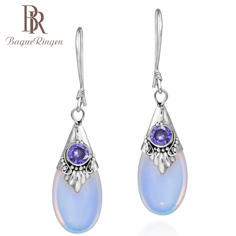 Bague Ringen  925 Sterling Silver Droplets Amethyst Moonstone Dangle Drop Earring  Female Wedding Party Jewelry Gift Wholesale