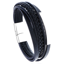 Men Genuine Leather Bracelet 316 Stainless Steel Buckle Bangle Bracelets Multilayer Braided Cowhide Wristband Male Jewelry Gifts jiayiqi men multilayer braided leather bracelet stainless steel magnetic clasp bangles fashion punk male jewelry