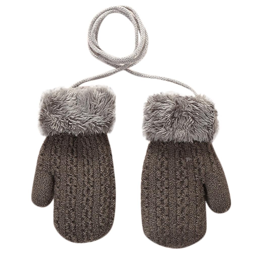 Теплые зимние Лоскутные рукавицы для маленьких девочек и мальчиков; милые детские перчатки; теплые зимние перчатки на весь палец - Цвет: Темно-серый