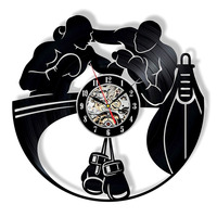 Boxing Vinyl Record Wall Clock Modern Design Boxing Gloves Punching Bag Vintage CD Clcoks Wall Watch Home Decor Gifts for Boxers