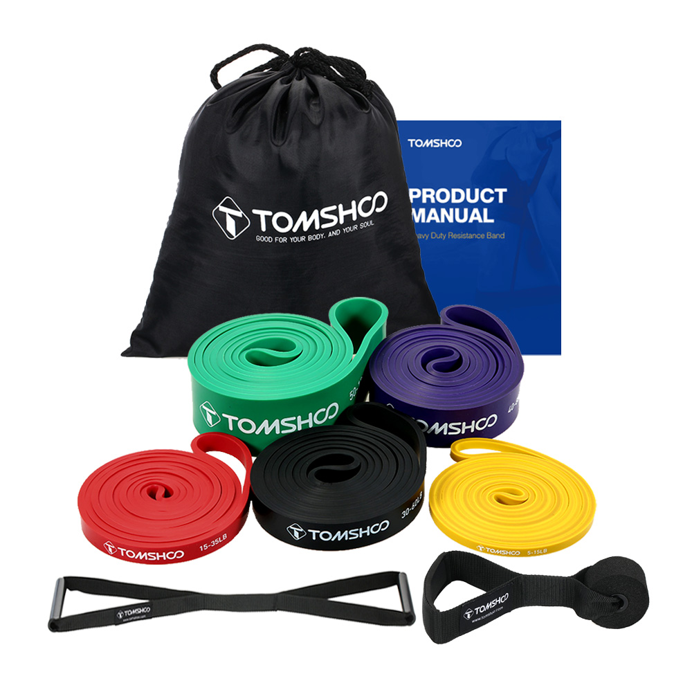 TOMSHOO 5 PCS Resistance Band Set Gym Home Fitness Equipment Strength Training Rubber Loops Resistance Exercise Stretch Bands