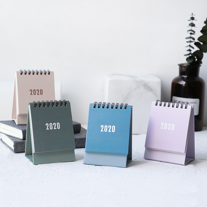 2020 Simple Solid Color Series Mini Desk Calendar DIY Portable Desktop Calendars To Do List Daily Schedule Planner