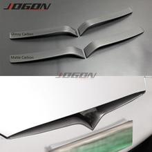 Glossy & Matte Real Carbon Fiber For Tesla Model S 2016  2019 Car Front Centre Grille Mesh Logo Cover Trim Protection