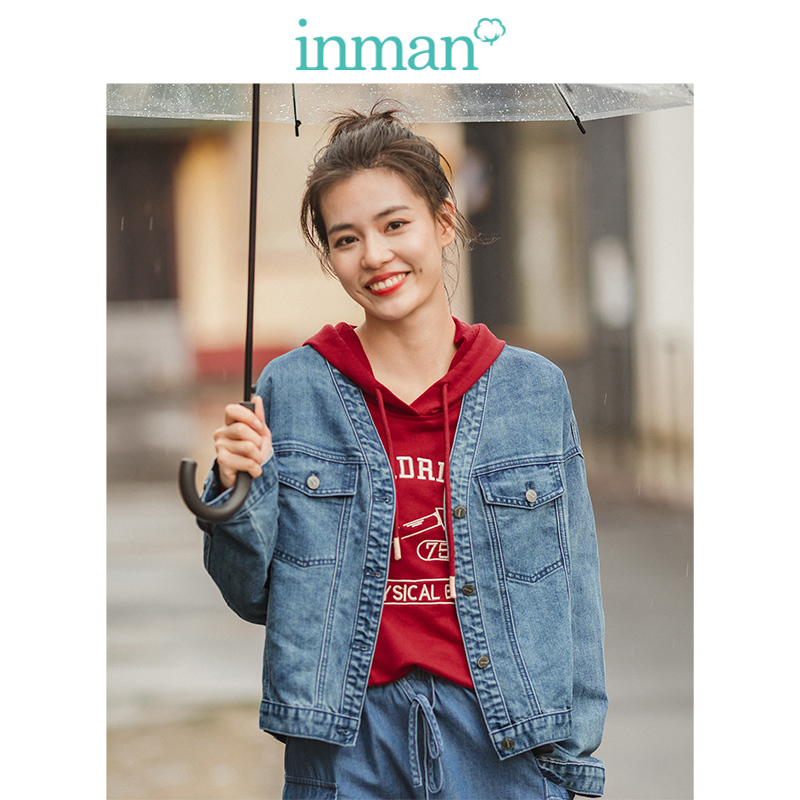 INMAN 2019 Autumn New Arrival Fashion V-neck Drop-shoulder Sleeve All Matched Minimalism Personality Women Short Jean Jacket