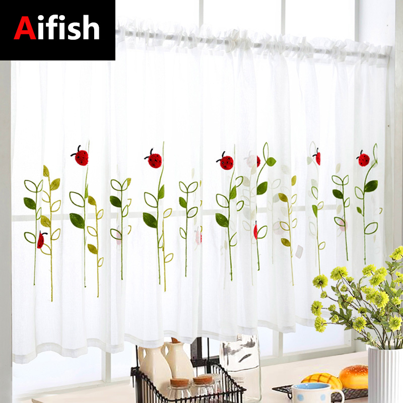 1 PCS Rod Pocket Short Curtain Cute Animals Embroidered Half-Curtains For Kitchen Door Drape Cafe Small Window Panel Sheer 3