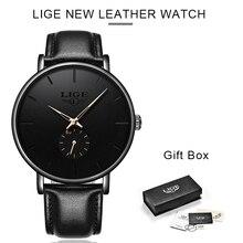 LIGE Hot Relógio Presente Do Negócio Dos Homens Moda Casual Relógios de Quartzo Impermeável dos Homens Relógio de Couro Preto Relógio de Pulso Relogio masculino