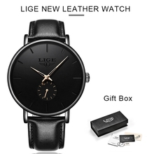 LIGE Hot Watch Men Fashion Casual Gift Business Watches Mens Waterproof Quartz Wristwatch Black Leather Clock Relogio Masculino
