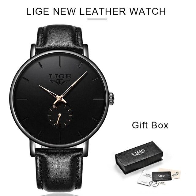 LIGE часы мужские модные повседневные подарочные деловые часы мужские водонепроницаемые кварцевые наручные часы черные кожаные часы Relogio Masculino