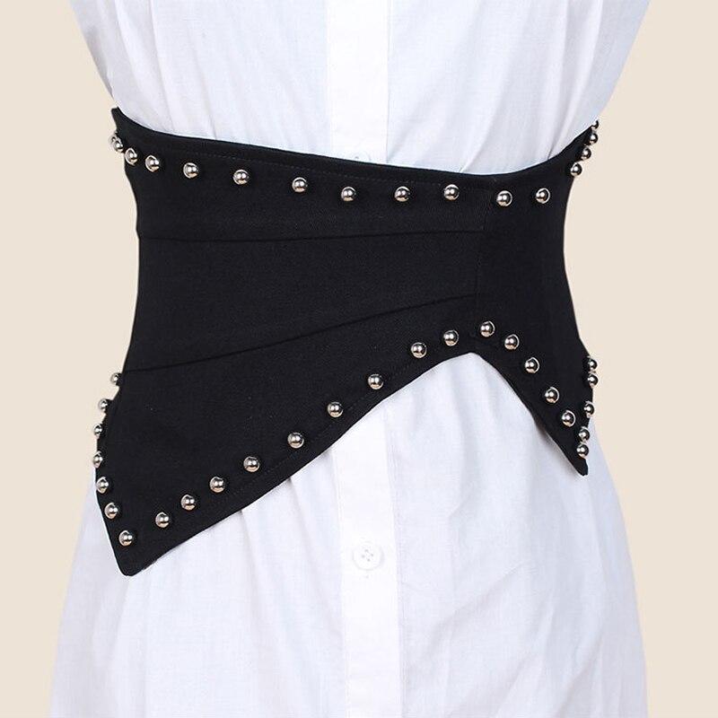 2020 New Rivet Elastic Women Wide Cummerbunds Personality Corset Belt Waist Belt Irregular Waistcoats