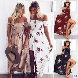 Image 5 - Wrap Chest Printing Dress Seaside Vacation Sandy Beach Longuette Woman Dress Summer
