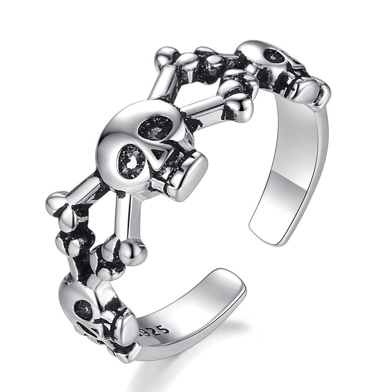 Black Skull Skeleton Vintage Punk Big Thai Silver Color Adjustable Ring For Women Mens Fashion Korean Chunky Jewelry S-R2182