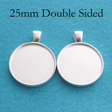 100 pcs    Silver Plated 25mm Double Sided Pendant Blanks, Two Sided Pendant Setting, Double Sided Pendant Bezel Blank Tray