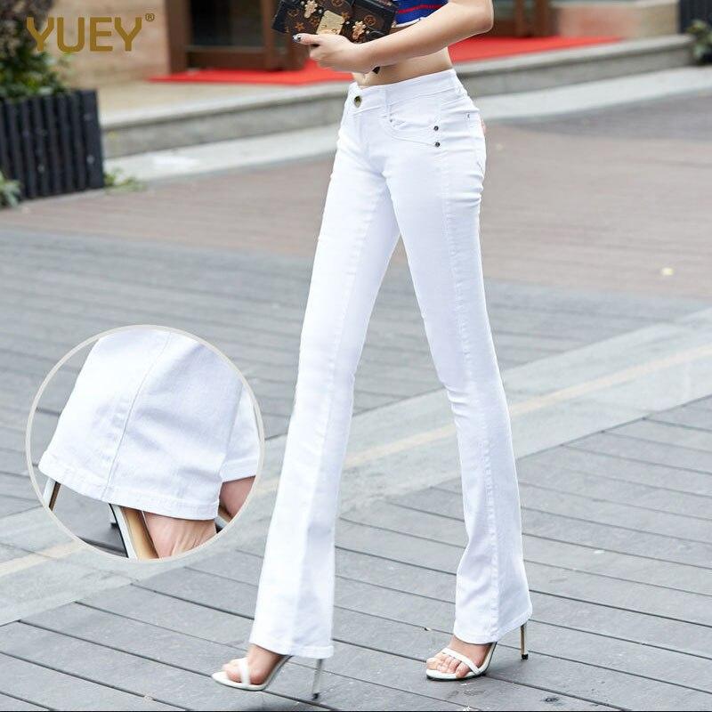 Женские брюки, тонкие белые Стрейчевые брюки для девочек, прямые, однотонные, черные, красные, синие расклешенные брюки, Прямая поставка размера плюс|Джинсы|   | АлиЭкспресс