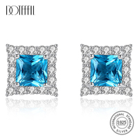 DOTEFFIL 100% 925 Silver Sterling Square Sapphire Stud Earrings for Women Tiny Shining CZ Wraped Gemstone Earrings Jewelry Gift