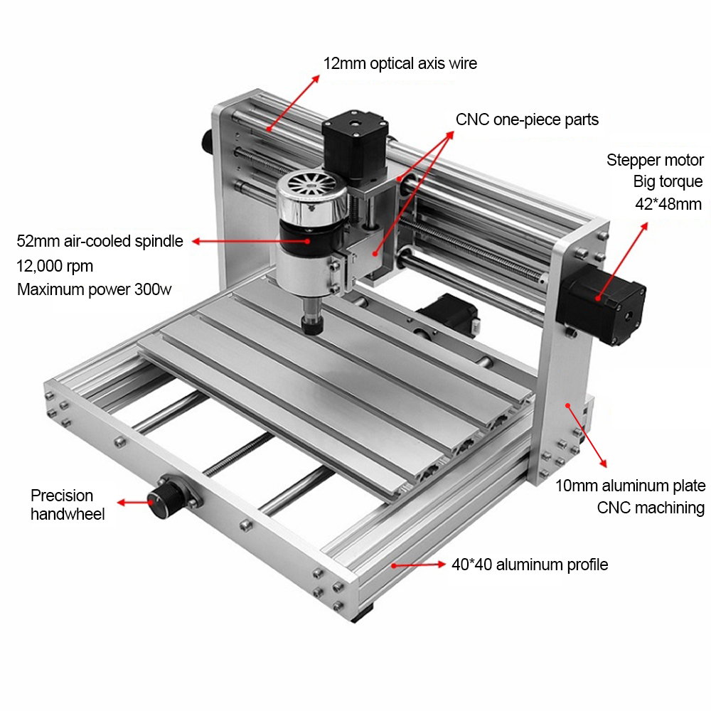 CNC 3018 pro Laser Engraving Machine with 200W Spindle and 3 Axis Rotation for PCB/PVC/WOOD/METAL 1