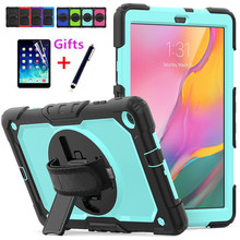 Case for Samsung Galaxy Tab A 10.1 2019 SM T510 SM T515 T510 T515 Hybrid Armor Protective Case with 360 Rotating Stand& Strap