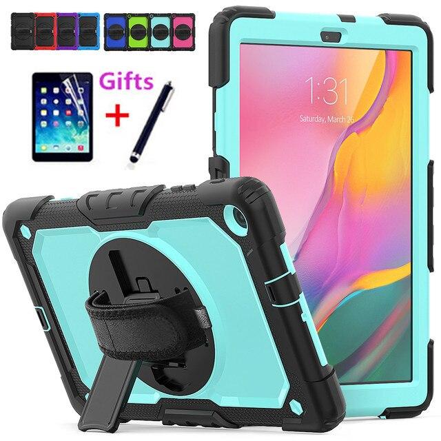 Чехол для Samsung Galaxy Tab A 10,1 дюйма, фотосессия 2019 дюйма, модель T510, T515, гибридный армированный защитный чехол с поворотной подставкой на 360 градусов и ремешком
