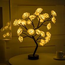 Lampa stołowa LED różowe drzewo kwiatowe USB lampki nocne girlandy imprezy walentynki ślub dekoracja do domu do sypialni oświetlenie kwiatowe tanie tanio HOSPORT NONE CN (pochodzenie) Łóżko pokój Z tworzywa sztucznego Dotykowy włącznik wyłącznik Żarówki led Klasyczne