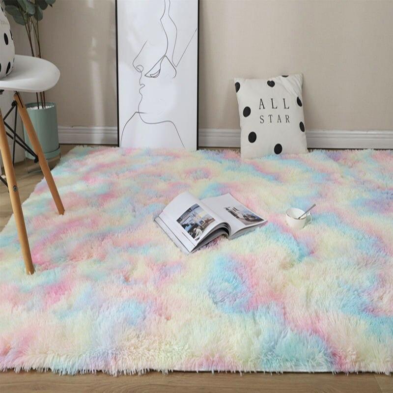 New Rainbow Colors Carpets Tie Dyeing Plush Soft Carpets For Bedroom Living Room Anti-slip Floor Mats Kids Room Carpet Rugs