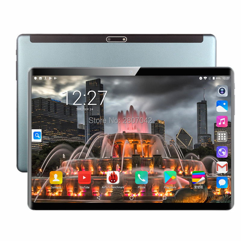 Newest 10 Inch Tablets 2.5D Tempered Glass 3G Phone Call Android 9.0 Quad Core 2GB RAM ROM 32+64GB IPS Wi-Fi Cards Tablets PC
