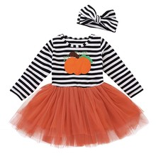 Get more info on the 2019 Fashion Infant Toddler Kids Clothing Baby Girl  Romper Pumpkin Striped Print Long Sleeve Halloween Dress+Headbands set 9.1