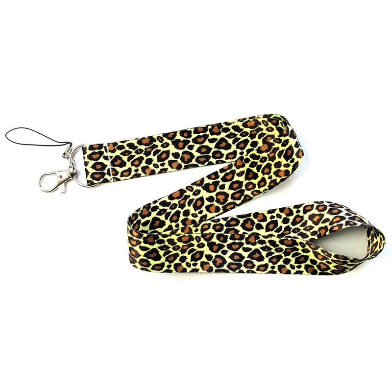 Personality One Nylon Leopard Printed Key Lanyard Cheetah ID Badge Holders Animal Phone Neck Straps With Keyring