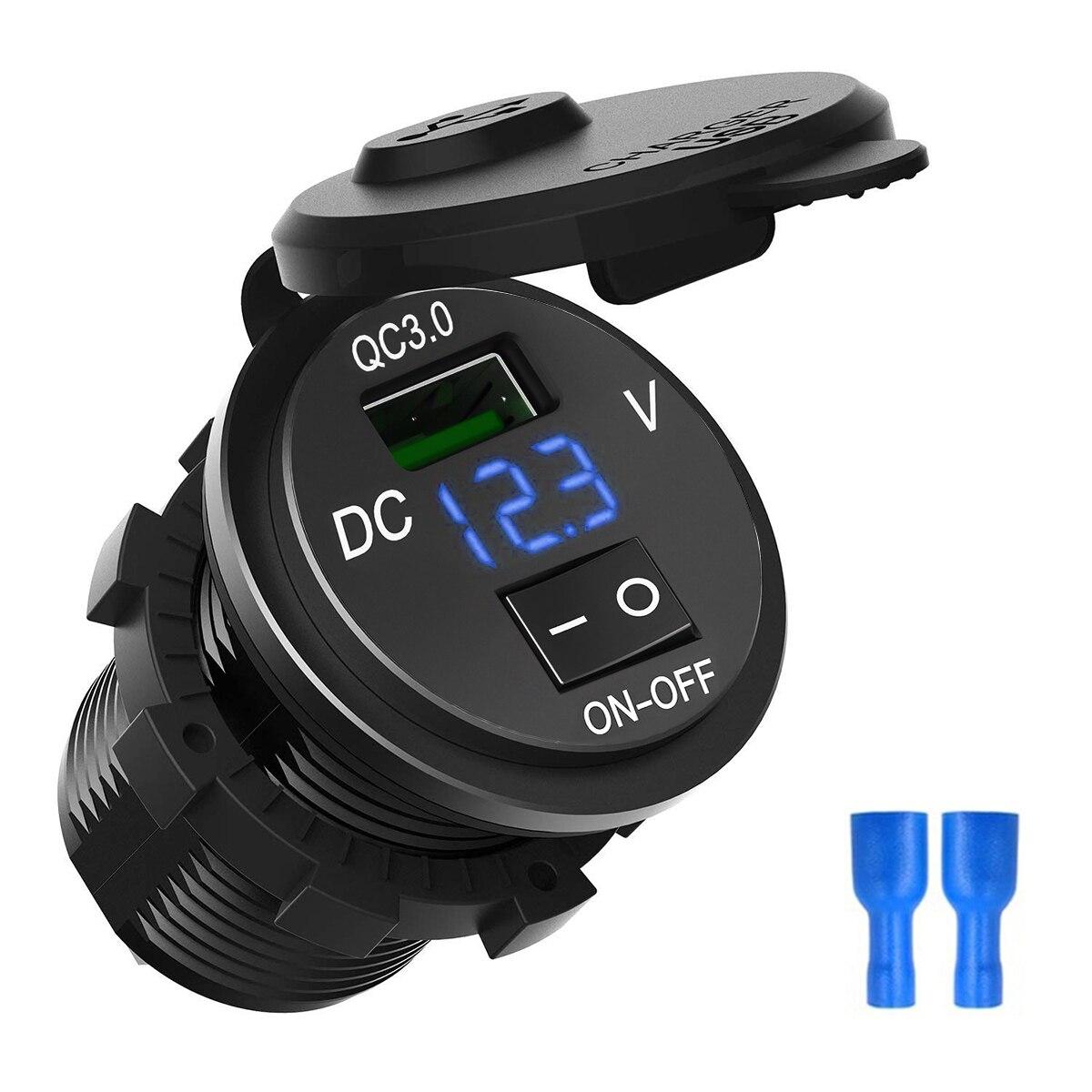 Voltmeter 2-Port USB Charger Outlet Socket Panel per DC 12V//24V Car Marine