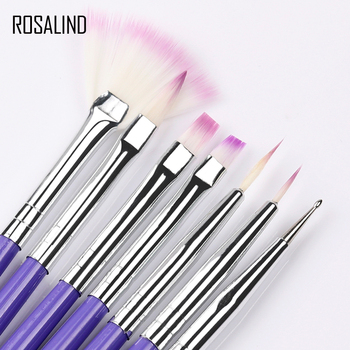 ROSALIND 7PCS Manicure Brushes Set For Nail Art Painting Brushes Dotting Design Manicure Nail Brush Kit Gel Varnishes Tools