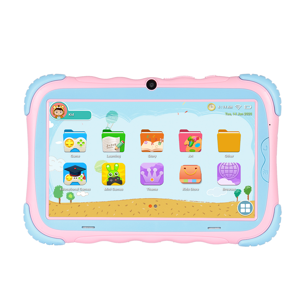 7 Inch Kids Tablet Android 9.0 16GB ROM Quad-core Processor IPS Screen 1024*600 Resolution WiFi/BT Connection Gift For Kids