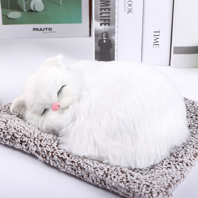 Sleeping Plush Dog Puppy Nap On Mat Sound Animals Toy Desktop Ornament Decor
