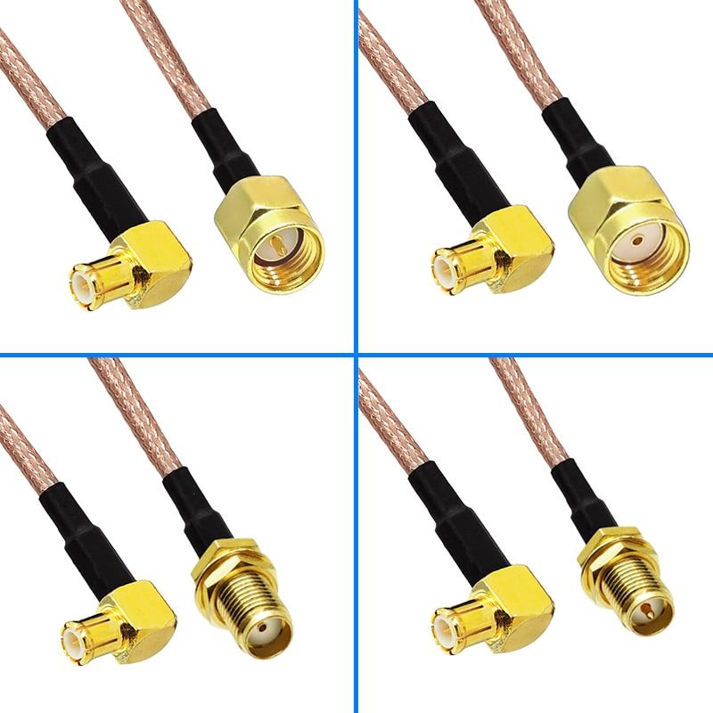RF coaxial-enchufe macho SMA de conector a MCX, macho, ángulo recto, Cable de Cable en espiral de RF, RG316