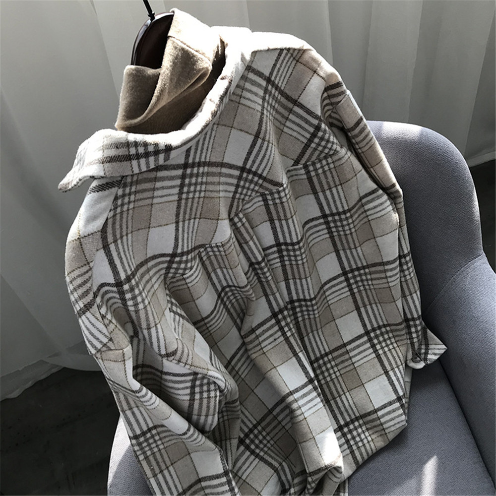 Spring Thick Loose cotton plaid Women blouses shirt 2020 female long sleeve Casual Warm women Blouse shirt office lady top Y0675 (30)