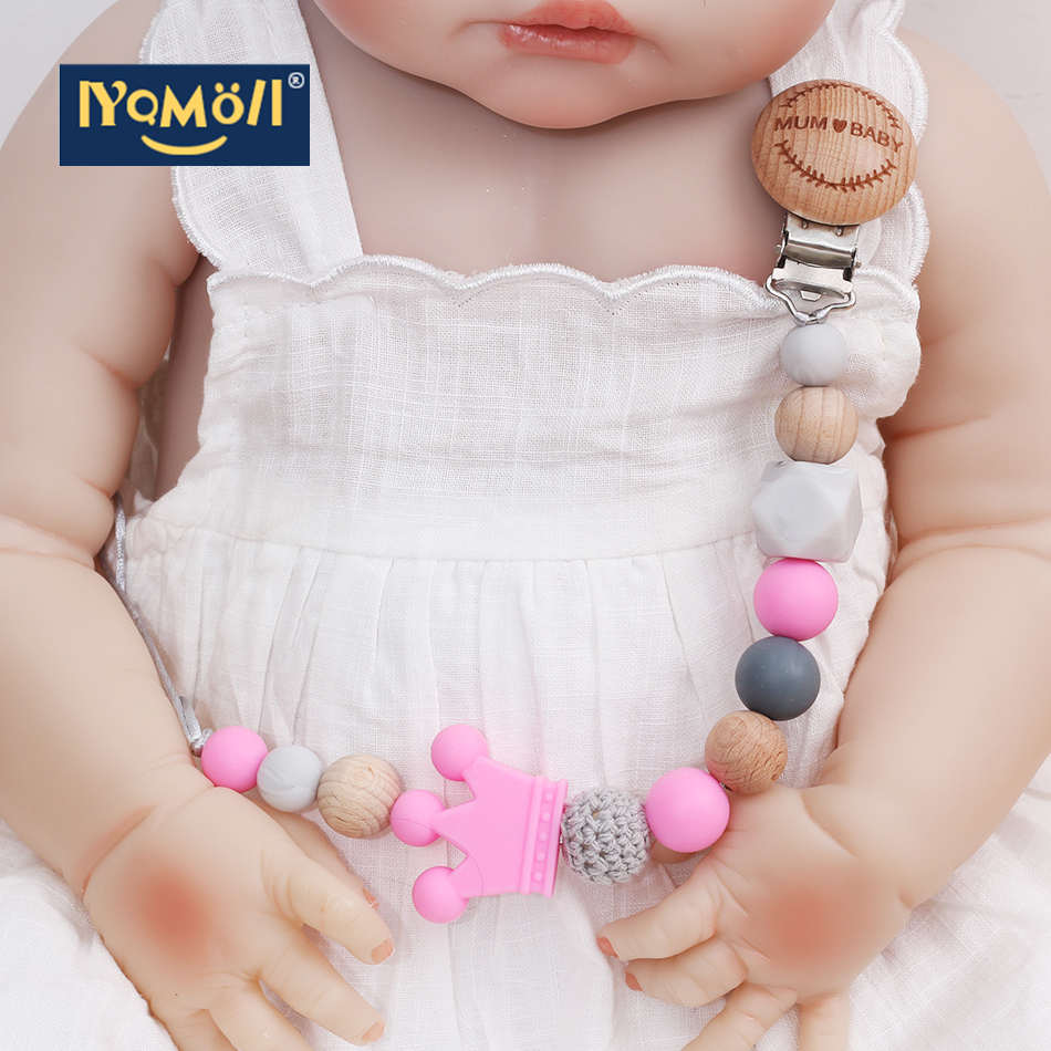 Silicone Beads Baby Pacifier Clip Pacifier Holderdummy Clip Teether Chew Toy Teether Clip Free Shipping Baby Products Gifts