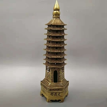 Folk Chinese Pure Bronze Buddhist Temple Statue WenChang Pagoda Stupa Tower 24cm