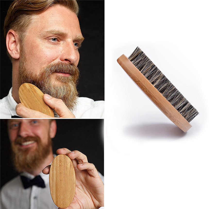 Natural Boar Bristle Beard Brush Beard Finishing Works Comb Beards And Mustache For Men Bamboo Face Massage Beard Brush