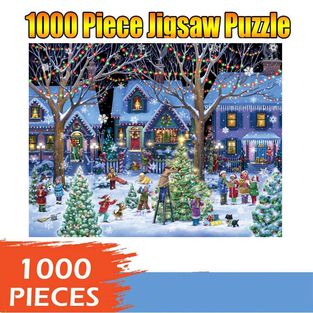 1000 Pieces Jigsaw Puzzle Children's Adult Wooden Puzzle Intelligence Educational Game Toys kids Jigsaw Puzzle toys Stickers 33