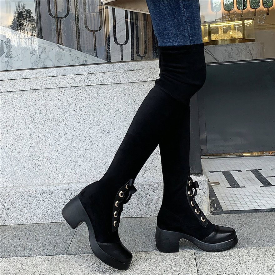 Long Sneakers Women Cow Leather Elastic Stretchy Over The Knee High Military Boots Female Lace Up Velvet Platform Pumps Shoes