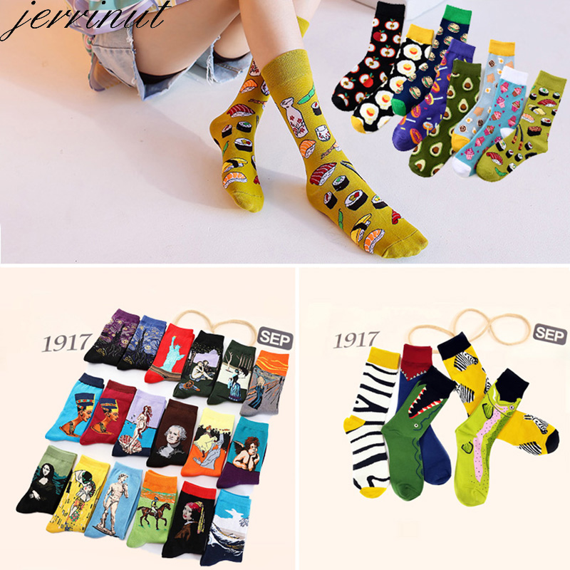 Women's Cotton Funny Art Van Gogh Socks With Print Cute Food Happy Socks With Avocado Fashion Warm Autumn Winter Men Socks 1Pair