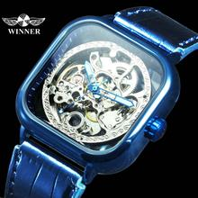 цена на WINNER Official Fashion Automatic Mechanical Watch Men Skeleton Dial Genuine Leather Strap Mens Watches Top Brand Luxury Clock