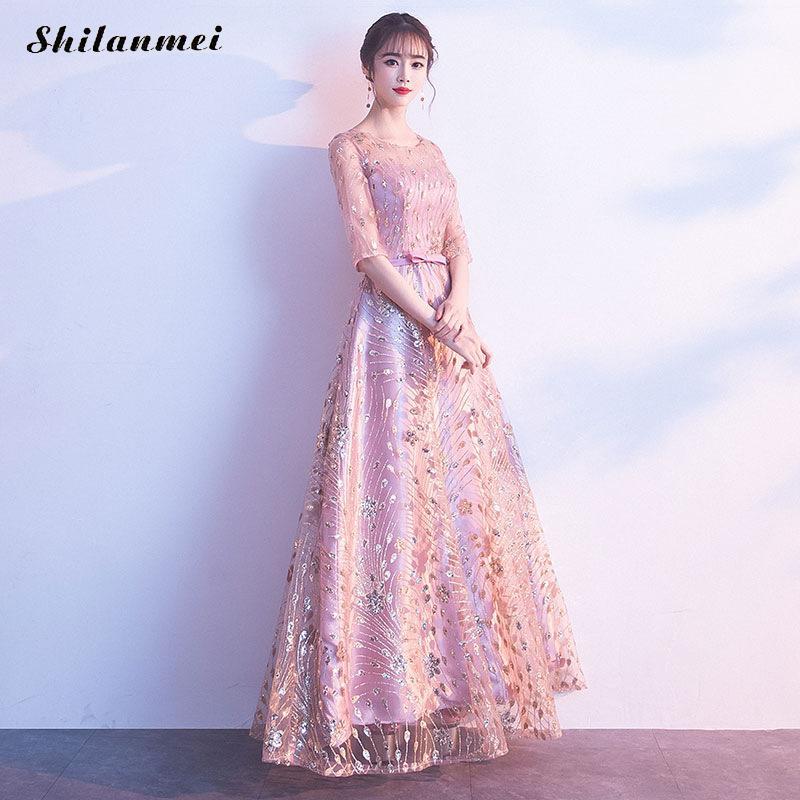 Robe de soirée en or Rose femmes Sexy maille transparente robes longues élégant perles Floral robes de bal robe pour mariage XXL