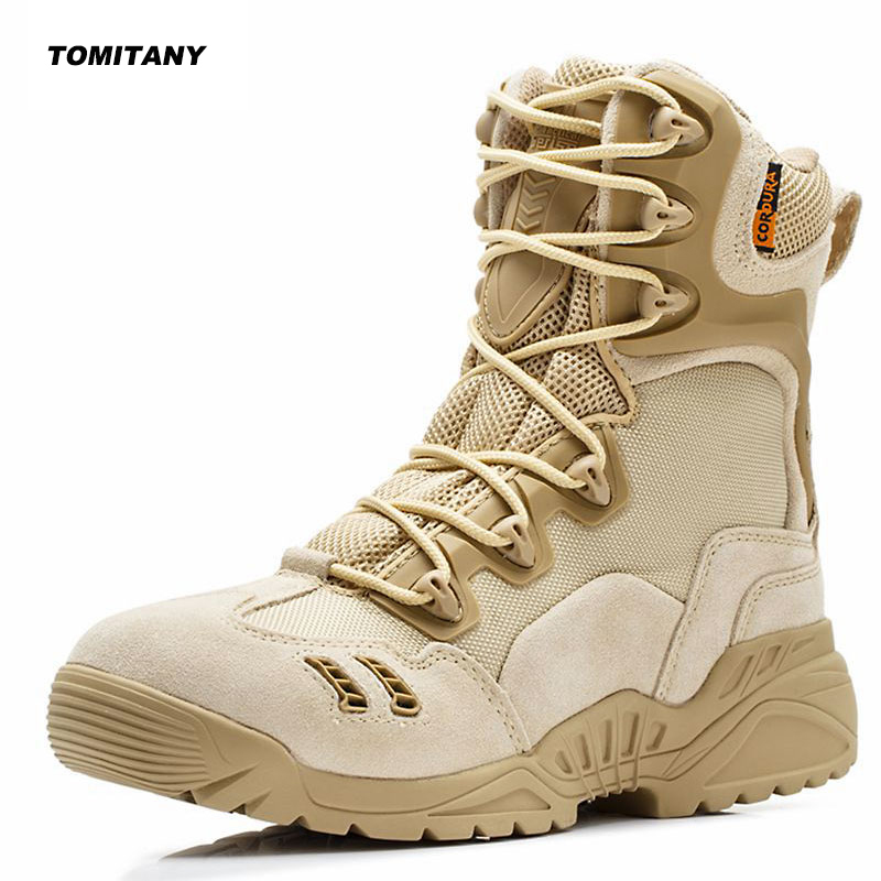 Men Trekking Outdoor Shoes Mountain Climbing Hunting Sneakers Mesns Military Tactical Combat Desert Boots Man Hiking Shoe-in Hiking Shoes from Sports & Entertainment