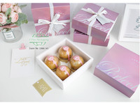 Pink Mooncake Paper Gift Box Candy Cookies Cake Box Wedding Favor Gift Bag Party Decor