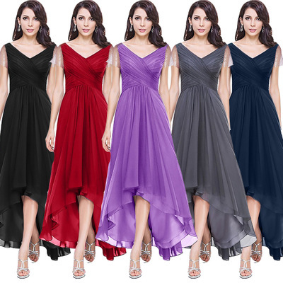 Sexy Evening Dresses V-Neck Short Sleeve Chiffon Evening Gown Robe De Soiree High Low Empire Party Prom Dress Vestidos De Fiesta