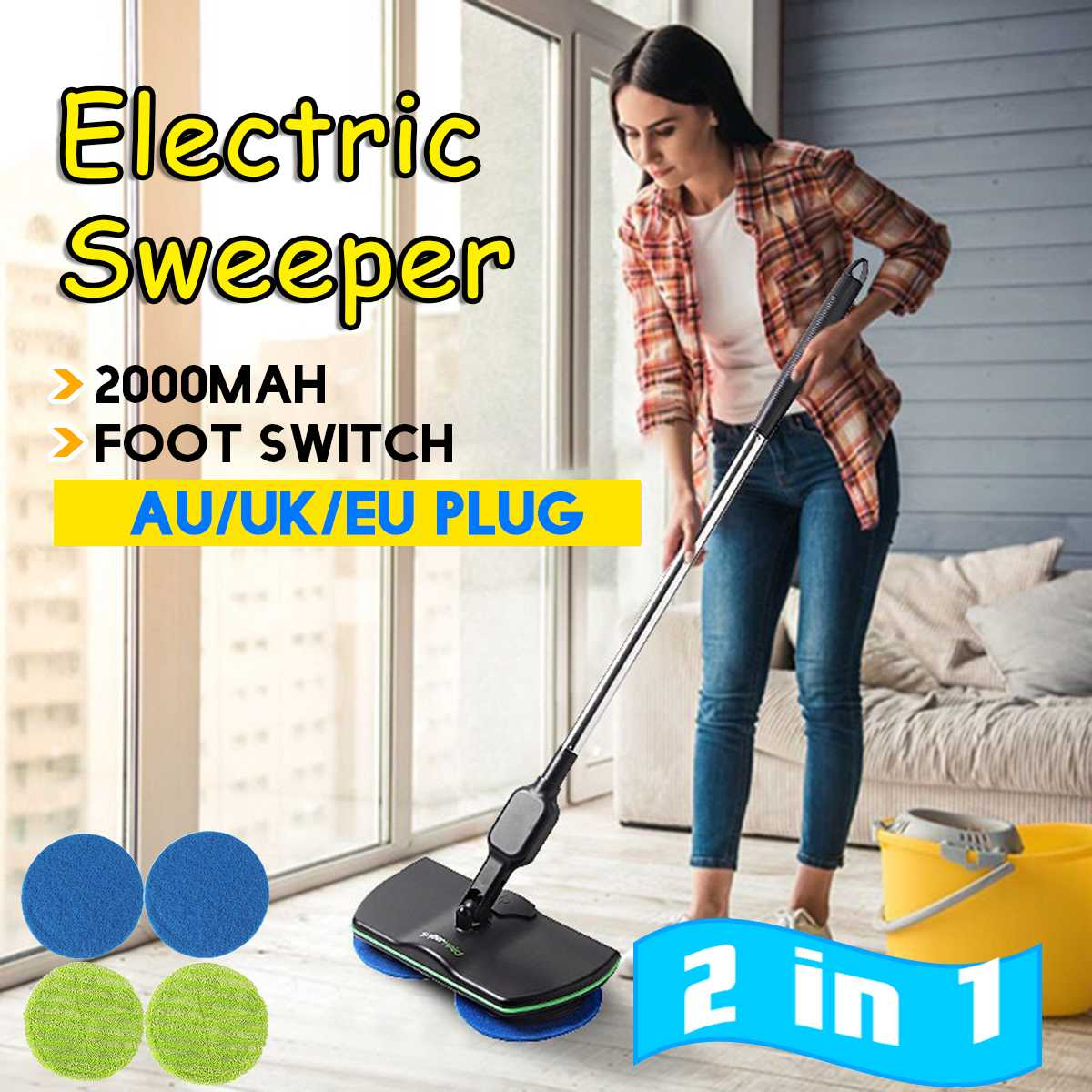 2 in 1 Electric Mop 360 Rotation Rechargeable Cordless Floor Cleaner Scrubber Polisher Microfiber Rotary Cleaning Mop for Home