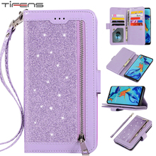 Luxury Leather Flip Wallet Hawei P40 Bling Case For Huawei P30 P20 Mate 30 20 Mate10 Pro Lite Zipper Phone Cover Coque Mujer Bag
