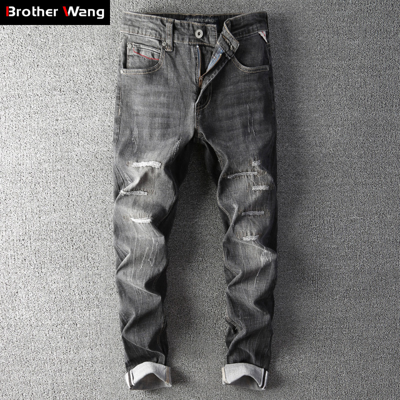 Men's Slim Ripped Jeans 2019 Autumn Winter New Fashion Stretch Thick Cotton Skinny Denim Pants Male Brand Trousers Black Blue