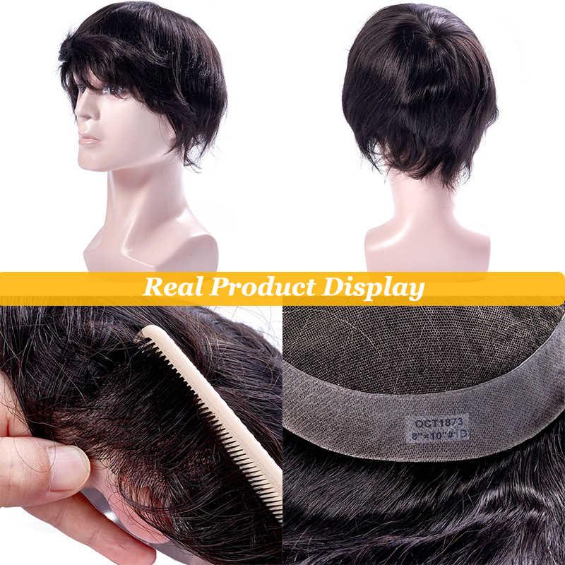 Peruka męska francuska koronka z peruką PU 6 cali indyjskie włosy System wymiany ludzkich treski peruka dla mężczyzn